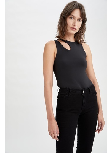 DeFacto Omuz Detaylı Slim Fit Bodysuit Siyah